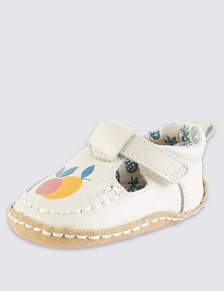 Kids' Leather Cruiser Fruit T-Bar Pram Shoes
