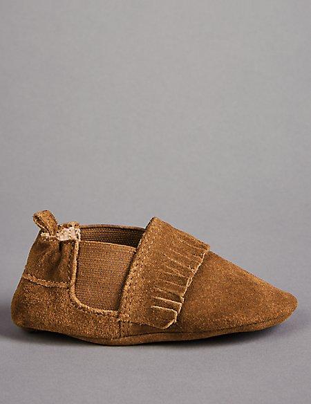 Baby Leather Fringed Pram Shoes