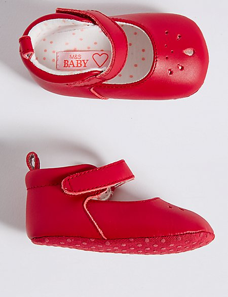 Baby Leather Riptape Pram Shoes