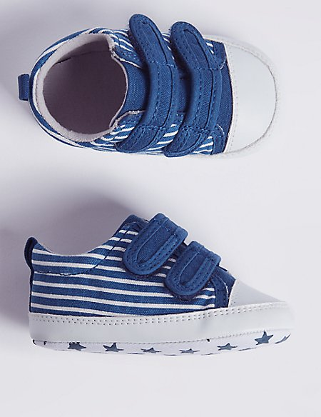 Baby Riptape Striped Pram Shoes