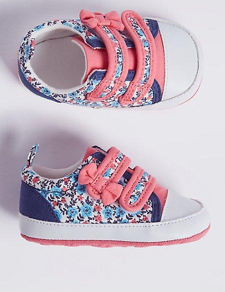 Baby Bow Floral Print Riptape Pram Shoes