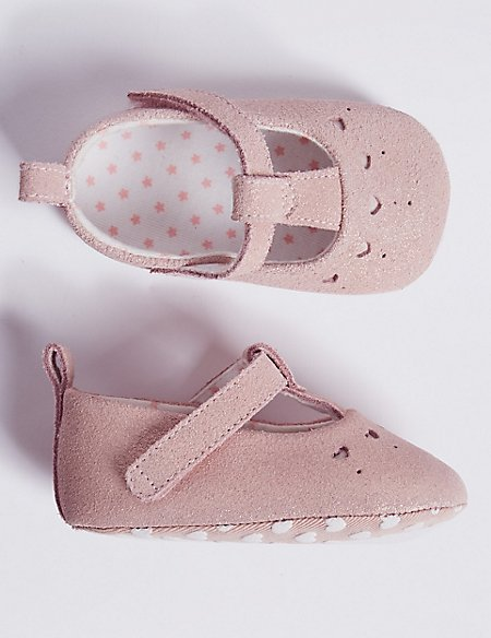 Baby Suede Sparkle Pram Shoes