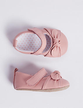 Baby Leather Bow Pram Shoes