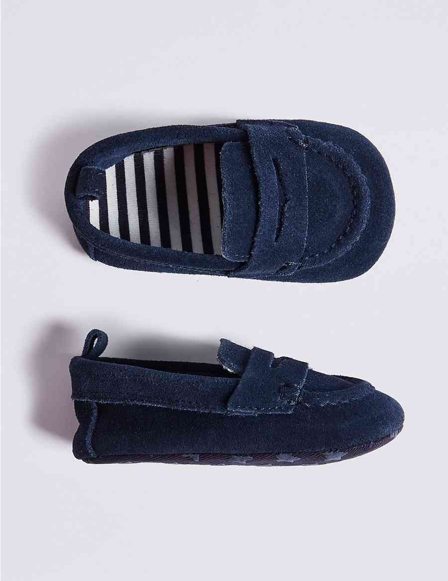 8cd9827113c Baby Suede Loafer Pram Shoes