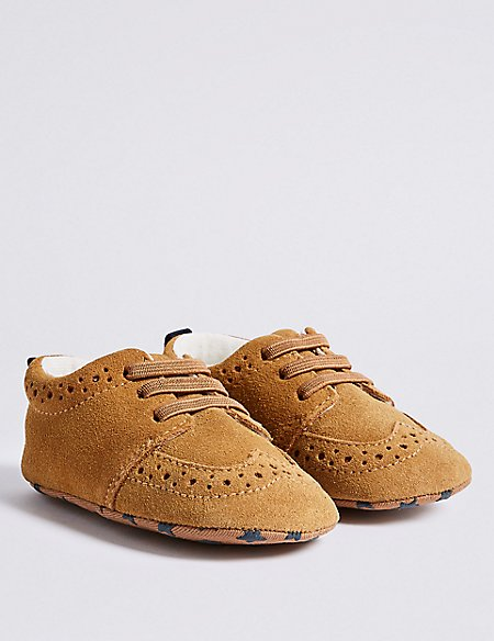 Baby Suede Brogue Pram Shoes