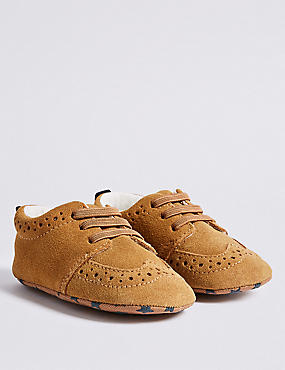 Baby Suede Brogue Pram Shoes
