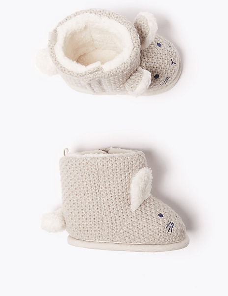 Baby Knitted Rabbit Riptape Boots (0-18 Months)