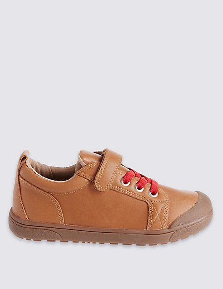 Kids' Leather Low Top Riptape Trainers