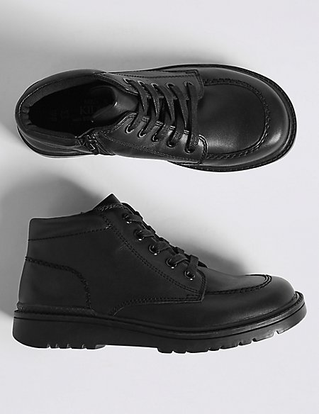 Kids' Leather Lace-up Boots with Freshfeet™ (13 Small - 7 Large)