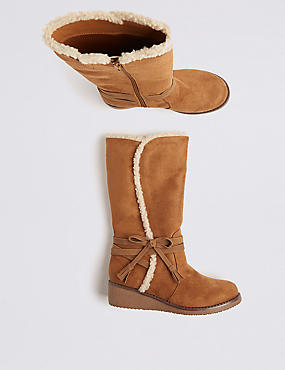 Kids' Wedge Tan Mid Calf Boots (13 Small - 6 Small)