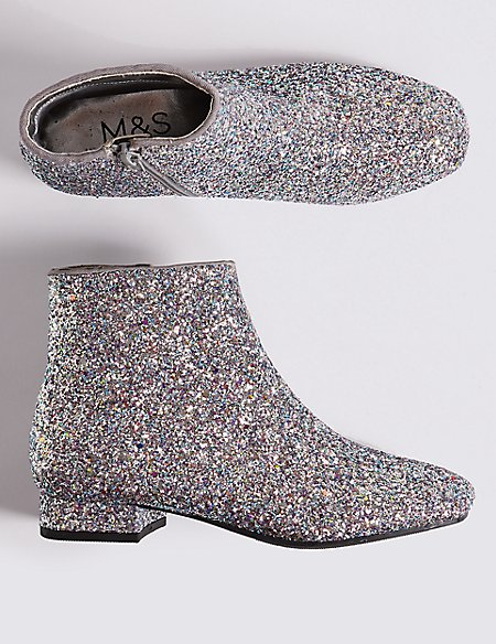Kids' Sparkly Glitter Ankle Boots (13 Small - 6 Large)