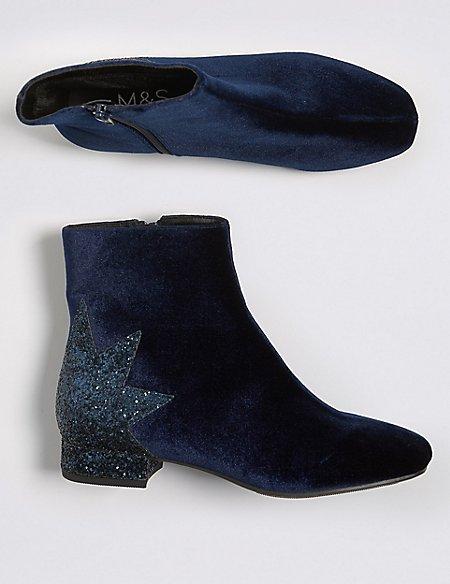 Kids' Velvet Ankle Boots (13 Small - 6 Large)