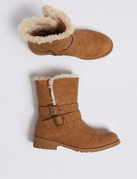 Kids' Fur Lined Buckle Boots (13 Small - 6 Large)