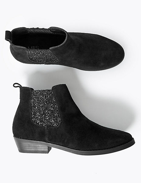 Kids' Leather Glitter Ankle Boots (13 Small - 6 Large)