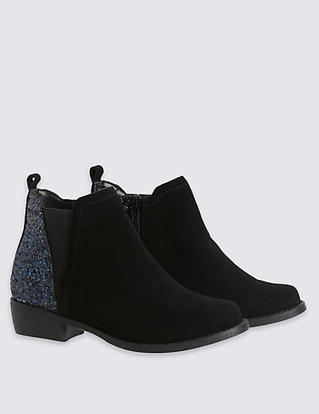 Kids Water Repellent Suede Glitter Heel Boots