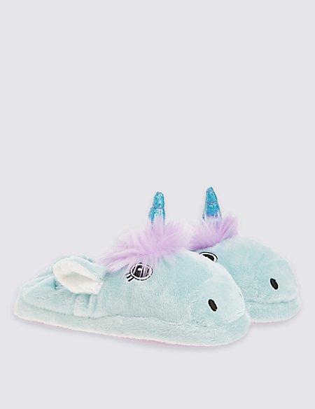 kids 39 unicorn slippers m s. Black Bedroom Furniture Sets. Home Design Ideas
