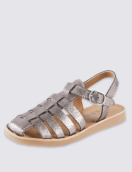 9a772944c31490 Product images. Skip Carousel. Kids  Leather Glitter Effect Fisherman  Sandals