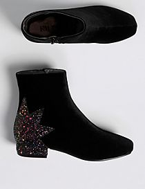 Kids' Star Sequin Ankle Boots