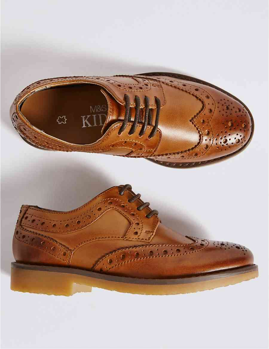 2e81a555fafd4 Kids  Leather Brogue Shoes (5 Small - 12 Small)