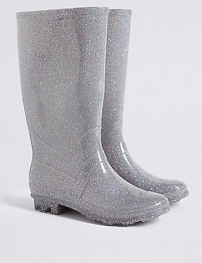 Kids' Glitter Water Repellent Wellies (13 Small - 6 Large)