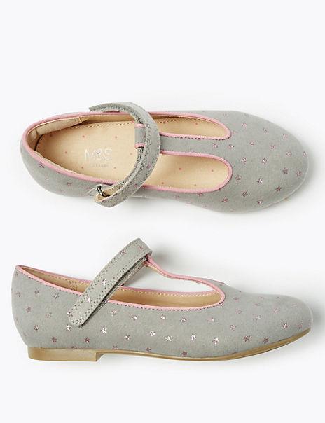 Kids' Freshfeet™ Star Print T-Bar Shoes (5 Small - 12 Small)