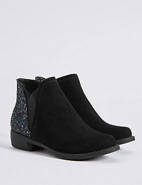 Kids' Suede Glitter Ankle Boots