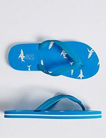 Kids' Shark Print Flip-flops (13 Small - 7 Large)