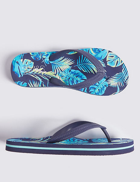 Kids' Hibiscus Print Flip-flops (13 Small - 7 Large)