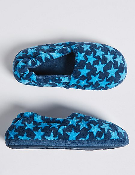 Kids' Star Print Slippers (13 Small - 7 Large)