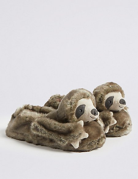 Kids' Sloth Bear Slippers (13 Small - 7 Large)