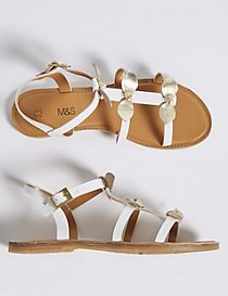 Kids' Leather Bow Sandals (13 Small - 6 Large)