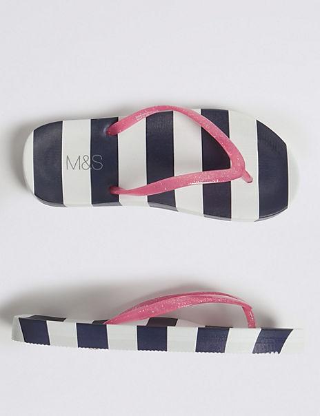 Kids' Striped Flip-flops (13 Small - 6 Large)