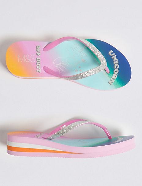 Kids' Unicorn Wedge Flip-flops (13 Small - 6 Large)
