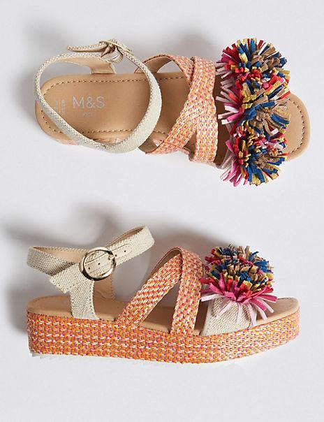 Kids' Pom Pom Zig Zag Sandals (13 Small - 6 Large)