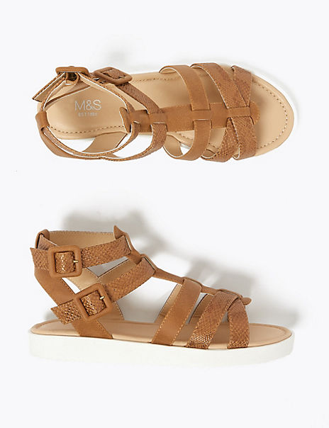 Kids' Snakeskin Texture Gladiator Sandals (13 Small - 6 Large)