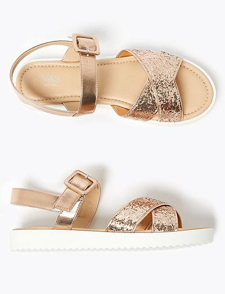 Kids' Cross Vamp Glitter Sandals (13 Small - 6 Large)