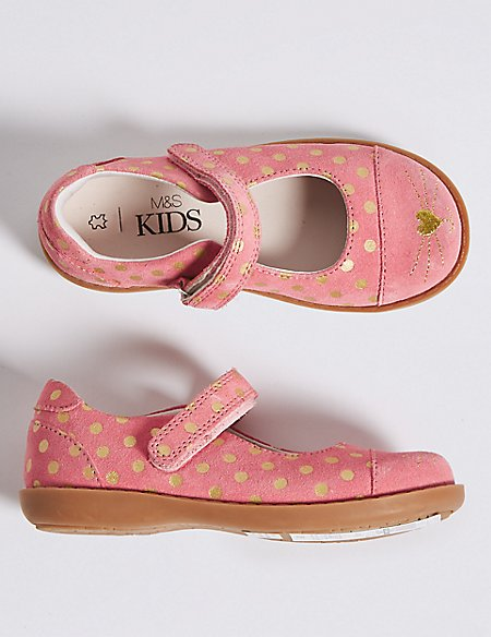 Kids' Suede Cross Bar Shoes (5 Small - 12 Small)