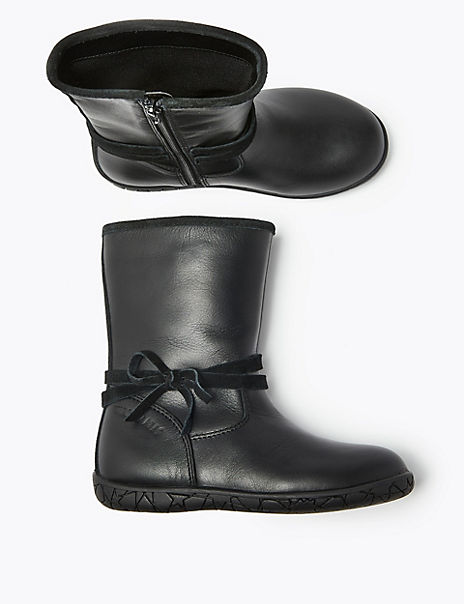 Kids' Walkmates™ Leather Bow Boots (4 Small - 12 Small)