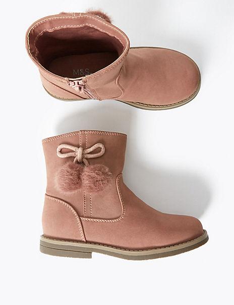 Kids' Freshfeet™ Pom Pom Ankle Boots (5 Small - 12 Small)