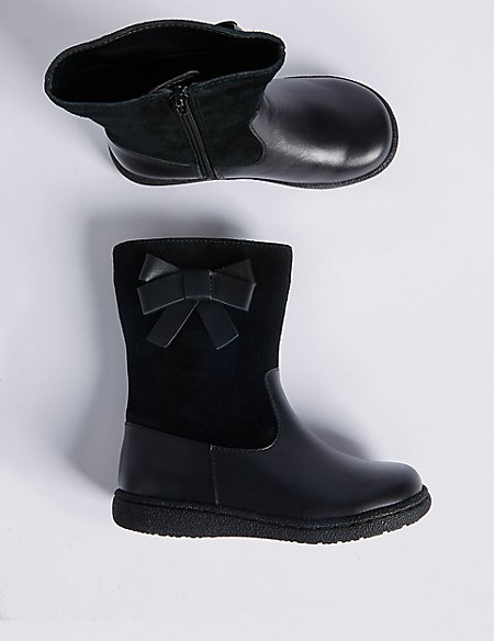 Kids' Leather Bow Mid-calf Boots (6 Small - 12 Small)