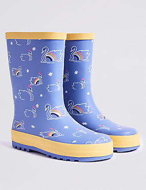 Kids' Swan Print Wellies (5 Small - 12 Small)