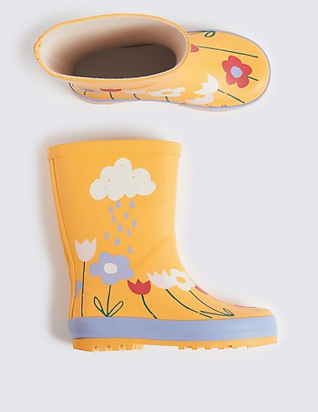 Kids' Cloud Flower Wellies (5 Small - 12 Small)