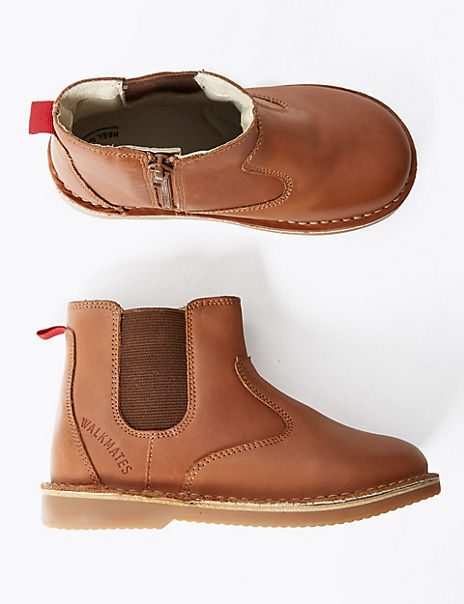 Kids' Walkmates™ Leather Zip Chelsea Boots (4 Small - 11 Small)