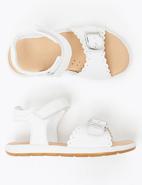 Kids' Scalloped Leather Sandals (4 Small - 12 Small)