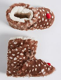 Kids' Faux Fur Reindeer Slipper Boots