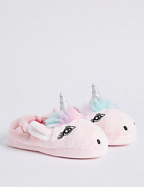 Kids' Slip-on Unicorn Slippers (5 Small - 6 Large), MULTI, catlanding