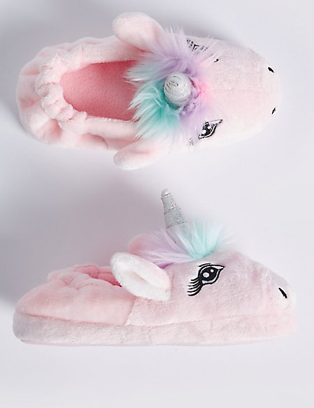 Kids' Slip-on Unicorn Slippers (5 Small - 6 Large)