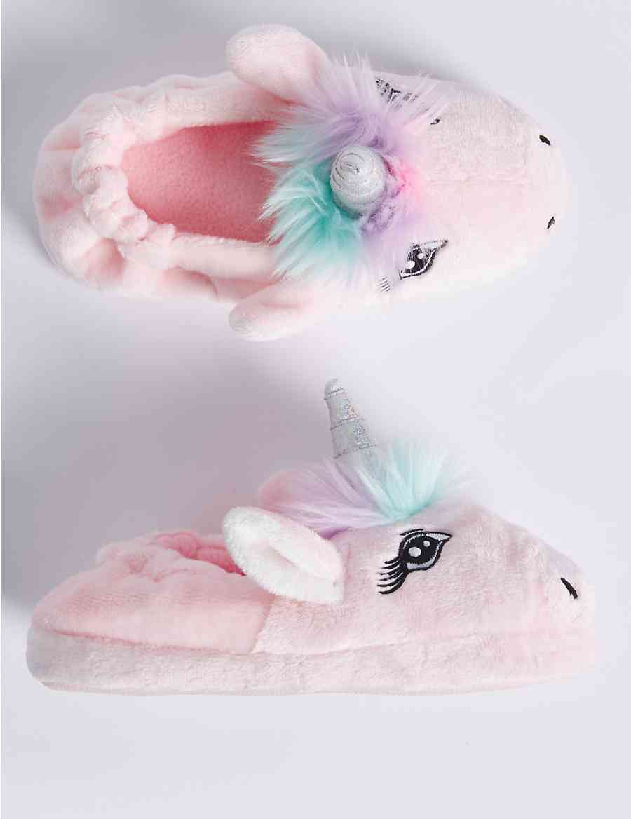 Kids  Slip-on Unicorn Slippers (5 Small - 6 Large)  b6a397f1f