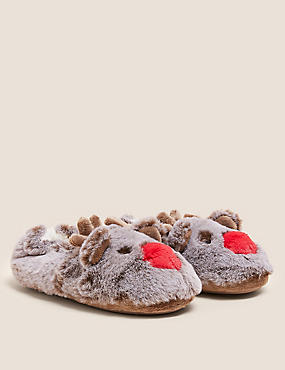 Kids' Reindeer Slippers (5 Small - 6 Large)