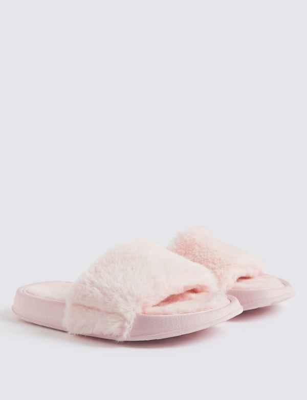 5c0c47701c03 Kids  Faux Fur Slide Slippers (13 Small - 6 Large)